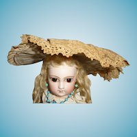 Antique doll bonnet for small to medium size german or french antique doll