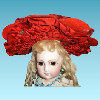 Antique doll bonnet in dark red maroon color for antique bisque doll