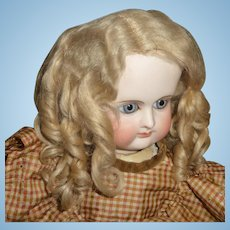 Antique blond mohair doll wig with curls for german or french doll