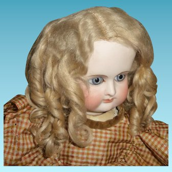 Genuine antique blond mohair doll wig with curls for german or french doll