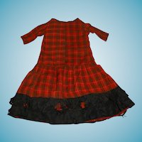 Wonderful antique plaid wool doll dress for german bisque doll