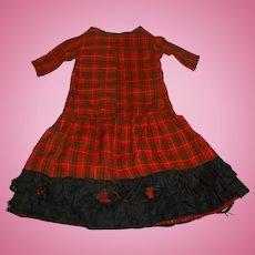 Wonderful antique plaid wool doll dress for german bisque doll