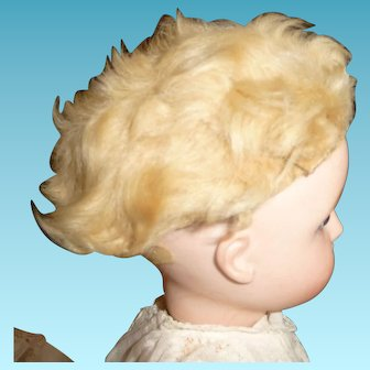 Wonderful antique sheepskin doll wig for early french bebe or german child doll