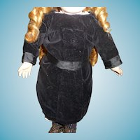 Charming antique velvet doll dress in small size