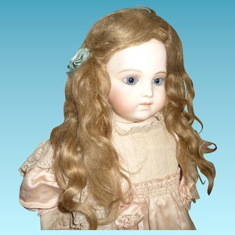 Original antique extended length mohair doll wig in smaller size for german or french doll