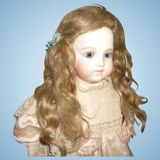 Rare original small antique extended length mohair doll wig for german or french doll