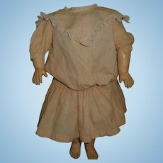 Antique pink gingham check doll dress for german or french antique doll