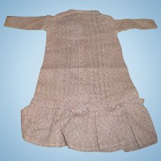 Antique plum calico print dropped waist dress for antique french or german doll