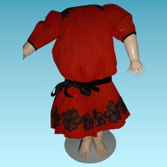 Charming antique red doll dress for 21-24 inch antique doll