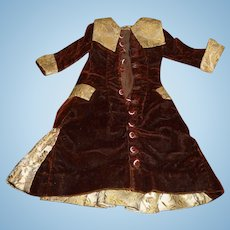 Beautiful genuine antique velvet and brocade french doll dress