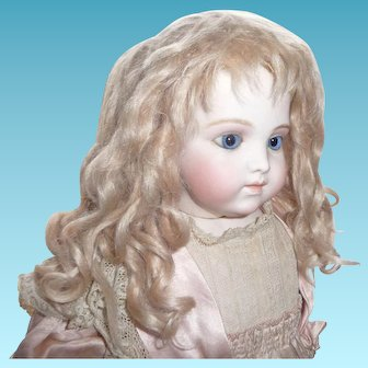 Beautiful thick antique blond mohair doll wig with curls for antique german or french doll