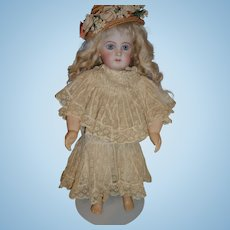 Spectacular genuine antique swiss dot and lace factory made french doll dress