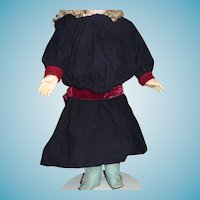 Wonderful antique navy blue wool doll dress with maroon trim