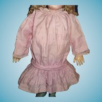 Darling pink polished cotton antique doll dress for german or french doll