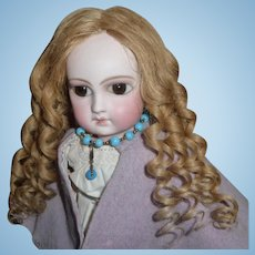Antique wig - beautiful long strawberry blond antique french doll wig with ringlets
