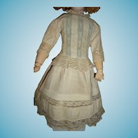 Beautiful white work antique doll dress for german or french fashion doll