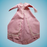 Lovely original antique pink cotton dress with train for large german or french fashion doll