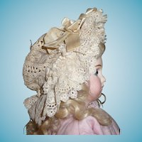 Gorgeous antique elaborate ribbon and lace french doll bonnet