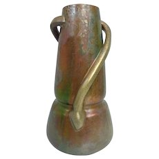 Huge Antique (1900) Clement Massier Golfe-Juan Coiled Snake Luster Vase - France