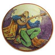 "Catalina Island Pottery 12-1/2"" Wall Plate w/Mandolin Player, F. M. Graham"