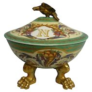 Antique French Porcelain Gold Footed Covered Bowl, Sevres, Enameled w/Gilt Trim