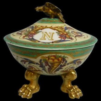 Antique French Porcelain Gold Footed Covered Bowl, Sevres, Enameled w/Gilt Trim