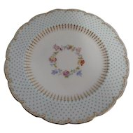 "Twelve Mintons 8"" Plates w/Raised Enamel Beading & Hand Painted Floral Center"