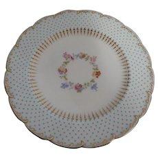 "Twelve Mintons 8"" Plates w/Raised Enamel Beading & Hand Painted Floral Center"