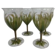 Four Theresienthal Bohemian  Enameled Wine Glasses