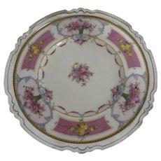 Hand Painted Sterling Framed Shreve & Co. Royal Worcester Charger w/Floral Design