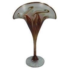 Vandermark Iridescent Pulled Feather Art Glass Fan Vase