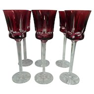"Six Sevres Crystal 10"" Cranberry Wine Glasses"