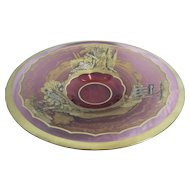 Moser Low Center Bowl w/Pictorial Scenes