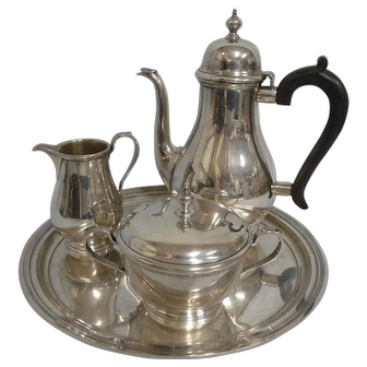 Tiffany & Co. Makers 3 Piece Queen Anne Sterling Coffee Set w/Sterling Tray