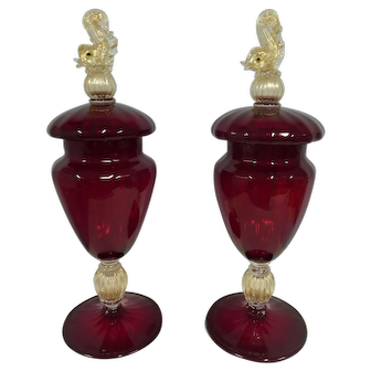Pair Murano Venetian Salviati Covered jars , Dolphin Finials