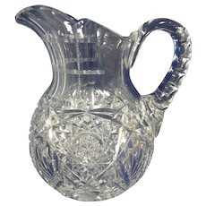 Beautiful Antique Signed Hawkes American Brilliant Cut Glass Pitcher