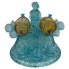 Unique Vintage Glass Tantalus w/2 Barrels & 12 Mini Glasses