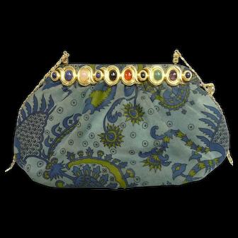 Vintage Judith Leiber Suede Purse w/Floral Design & Jeweled Frame