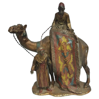 Arab On Camel w/Persian Rug, Cold Painted On White Metal