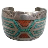 Large Navajo Tommy Singer Inlay Turquoise & Coral Chip Cuff Bracelet, Marked TC