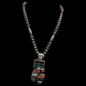 "Amazing Frank Yellowhorse Navajo Sterling 4"" Pendant on 20"" Chain, Inlaid Stones"