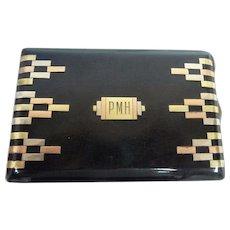 Art Deco 14K Tri-Color Gold & Sterling Enamel Cigarette Case w/Monogram