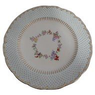 "Twelve Mintons 9"" Plates w/Raised Enamel Beading & Hand Painted Floral Center"