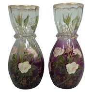 Pair of Antique Mont Joye / Moser Vases w/Enameled Rose & Gilt Trim
