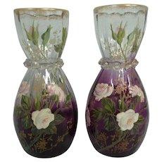 Pair of Antique Mont Joye / Moser Vases w/Enameled Rose & Gilt Trim