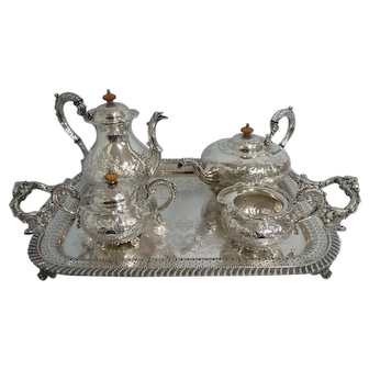 Antique Sheffield England Ornate 4 Piece Silver Plate Tea Set w/Tray