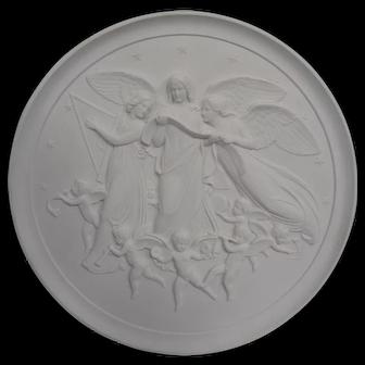 """Antique Royal Copenhagen Porcelain Bisque 14"""" plaque"""
