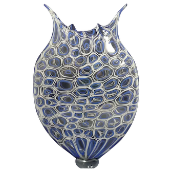 "David Patchen 21"" Art Glass Vase, Cellular Foglio, PRE-OWNED"