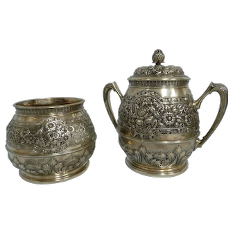 Tiffany & Co Union Square 925 Sterling Ornate Repousse Tea Caddy & Bowl, 1871