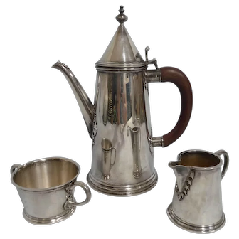 Asprey London Arts & Crafts Sterling Three Piece Coffee/Demi Set